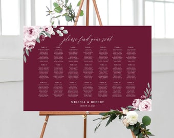 Burgundy Marsala Floral Seating Chart Wedding Template, 139V5