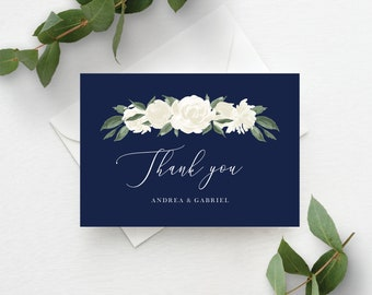 Wedding Thank You Cards Template with Navy and White Floral Design, Fully Editable Colors and Wording with Templett, 137V17