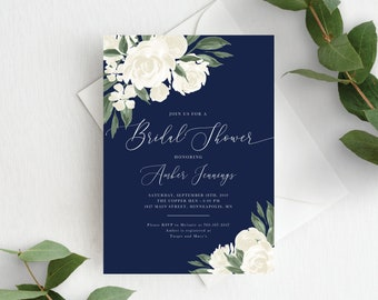 Bridal Shower Invitation Template, Editable Invite Template, Instant Download, Navy and White Floral, 137V17