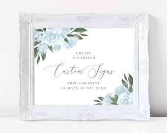 Wedding Signs Template with Dusty Blue Watercolor Floral Design, Fully Editable Colors and Wording with Templett, 137V15