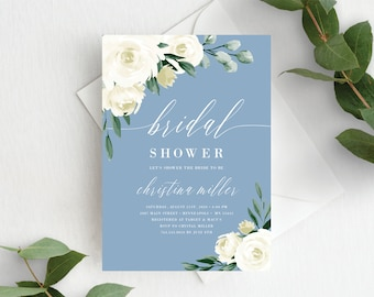 Bridal Shower Invitation Template, Editable Invite Template, Instant Download, Dusty Blue White Floral, 139V4