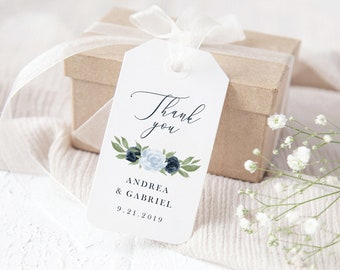 Dusty Blue and Navy Floral Wedding Favor Gift Tags Template