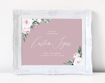 Wedding Sign Template, Dusty Rose Watercolor Floral, Fully Editable Colors and Wording with Templett, 139V5