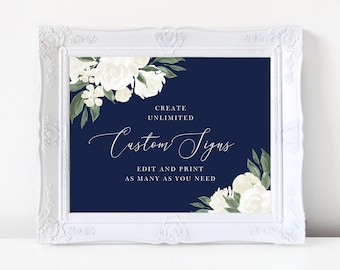 Wedding Sign Template with Navy and White Floral Design, Fully Editable Colors and Wording with Templett, 137V17