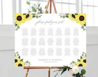 Sunflower Seating Chart Template, Rustic Wedding Table Seating Chart, 18x24, 24x36, 144