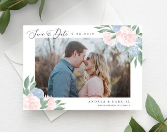 Dusty Blue and Pink Floral Save the Date Template