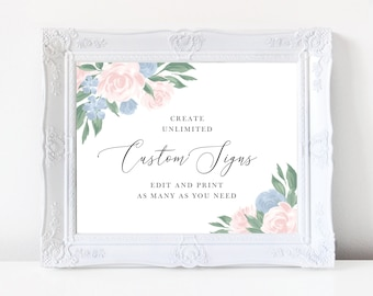 Dusty Blue and Pink Floral Wedding Sign Template