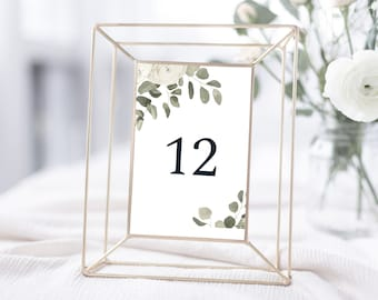 Minimal Eucalyptus Wedding Table Number Template, 4x6, Instant Download, 151