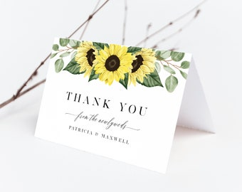 Sunflower Thank You Card Template, Rustic Sunflowers Wedding, 144