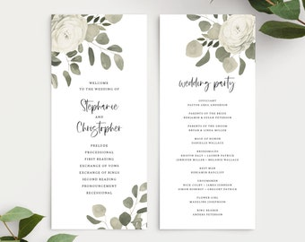Eucalyptus Wedding Program Template, 151