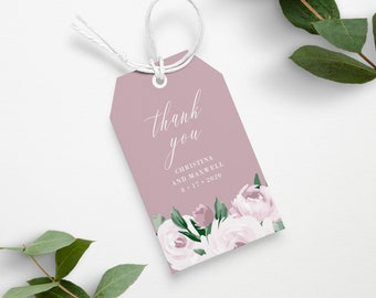 Dusty Rose Pink Wedding Gift Tag Template, Printable Instant Download, 139V5