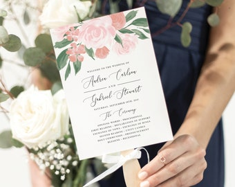 Pink and Coral Floral Wedding Program Fan Template