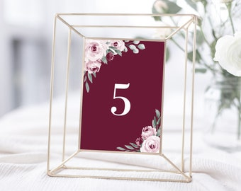 Burgundy Marsala Wedding Table Number Template, 4x6 and 5x7, Instant Download, 139V3