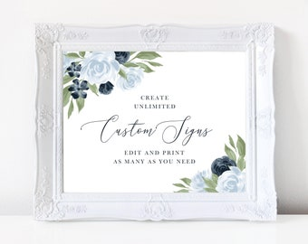 Dusty Blue and Navy Floral Wedding Sign Template