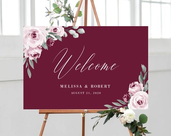 Welcome Sign Template for Wedding, Burgundy Marsala Pink Watercolor Boho Floral, 100% Editable with Templett Instant Download, 139V3