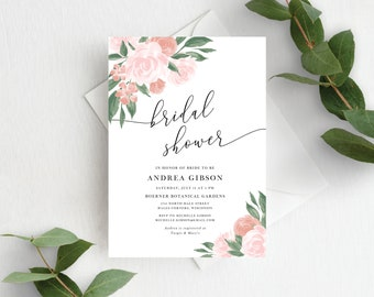 Pink and Coral Floral Bridal Shower Invitation Template