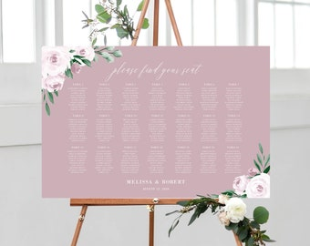 Dusty Rose Pink Floral Seating Chart Wedding Template, 139V5