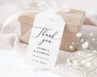 Wedding Favor Tags Template, Minimal Wedding Gift Tags Printable, Calligraphy Wedding,  Fully Editable with Templett, 137V18