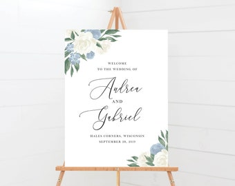 Dusty Blue and White Floral Wedding Welcome Sign Template