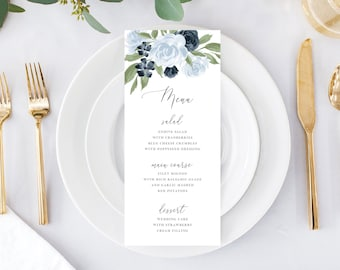 Dusty Blue and Navy Floral Wedding Menu Template