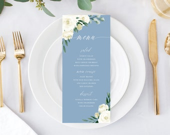 Wedding Menu Template, Menu Card, Menu Cards, Printable, Dusty Blue Greenery White Floral, Templett, 139V4