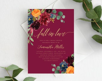 Fall Bridal Shower Invitation Template Fall in Love Bridal Invite Autumn Floral Fall In Love Wedding Shower, Orange Burgundy Marsala, 140V2
