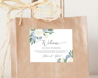 Dusty Blue and White Floral Welcome Bag Label Template