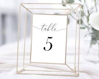 Table Numbers Template, Minimal Wedding, Black and White Calligraphy, Fully Editable Colors and Wording with Templett, 137V18