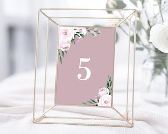 Dusty Rose Pink Wedding Table Number Template, 4x6 and 5x7, Instant Download, 139V5