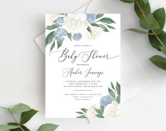 Dusty Blue Baby Shower Invitation Template