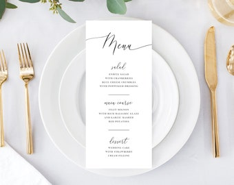 Simple Menu Wedding Template for Dinner Party, Rehearsal Dinner, Thanksgiving or Wedding, Instant Download Templett