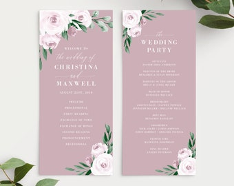 Dusty Rose Pink Watercolor Floral Wedding Program Template, 139V5