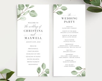 Watercolor Eucalyptus Greenery Wedding Program Template, 139V6
