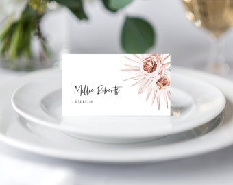 Boho Floral Place Cards Wedding Template, Instant Download, 150