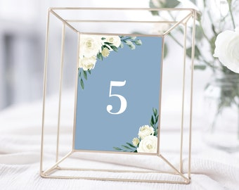 Table Numbers Template, Dusty Blue Greenery White Floral Design, Fully Editable Colors and Wording with Templett, 139V4