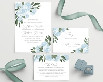 Dusty Blue Wedding Invitation Template, Colors and Text Fully Editable, Printable Invitation Kit, Instant Download, Templett, 137V15