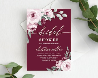 Bridal Shower Invitation Template, Editable Invite Template, Instant Download, Burgundy Marsala Wine Floral, 139V3