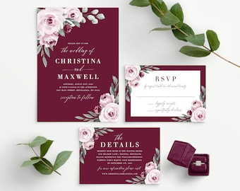 Burgundy Wedding Invitation Template, Marsala Wedding Invite, 139V3