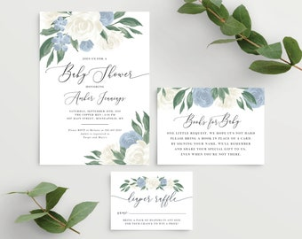 Dusty Blue Baby Shower Invitation Kit