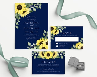 Sunflower Wedding Invitation Template with Navy Background, 100% Editable Printable Template, Edit all the Colors including the Flowers! 149