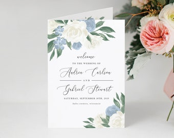 Dusty Blue and White Floral Folded Wedding Ceremony Program Template