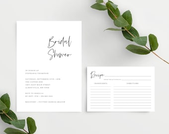Minimalist Bridal Shower Invitation Set Template with Recipe Card (4x6), Simple Bridal Shower Invite, Instant Download, 148