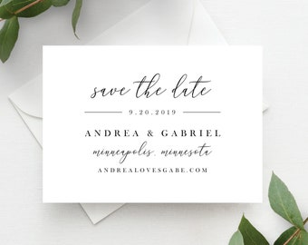 Save the Date Cards, Save the Date Template, White and Black Minimal Calligraphy, Save the Dates, Templett, 137V18