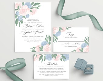 Dusty Blue and Pink Floral Wedding Invitation Template