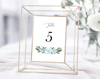 Table Numbers Template with Greenery and Dusty Blue Floral Design, Fully Editable Colors and Wording with Templett, 137V15
