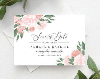 Pink and Coral Floral Save the Dates Printable Template