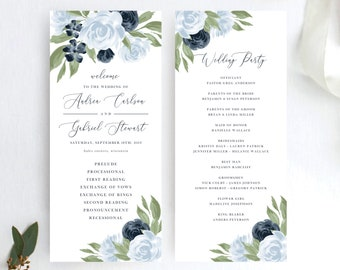 Dusty Blue and Navy Floral Wedding Program Template