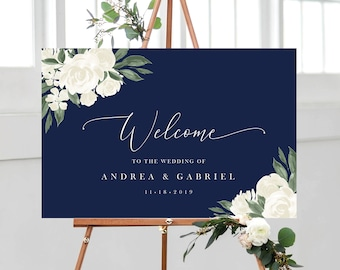 Wedding Welcome Sign Template with Navy and White Floral Design, Fully Editable Colors and Wording with Templett, 137V17