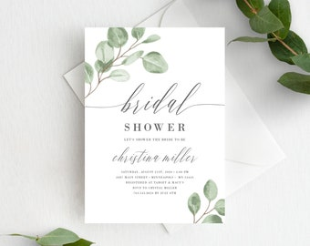 Bridal Shower Invitation Template, Greenery Eucalyptus Editable Invite Template, Instant Download, 139V6