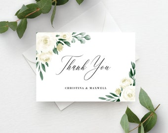 Wedding Thank You Cards Template, Greenery Wedding Folded Thank You Card, Fully Editable Colors and Wording with Templett, 139V1